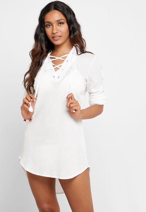 Lace Up Roll Sleeve Beach Shirt