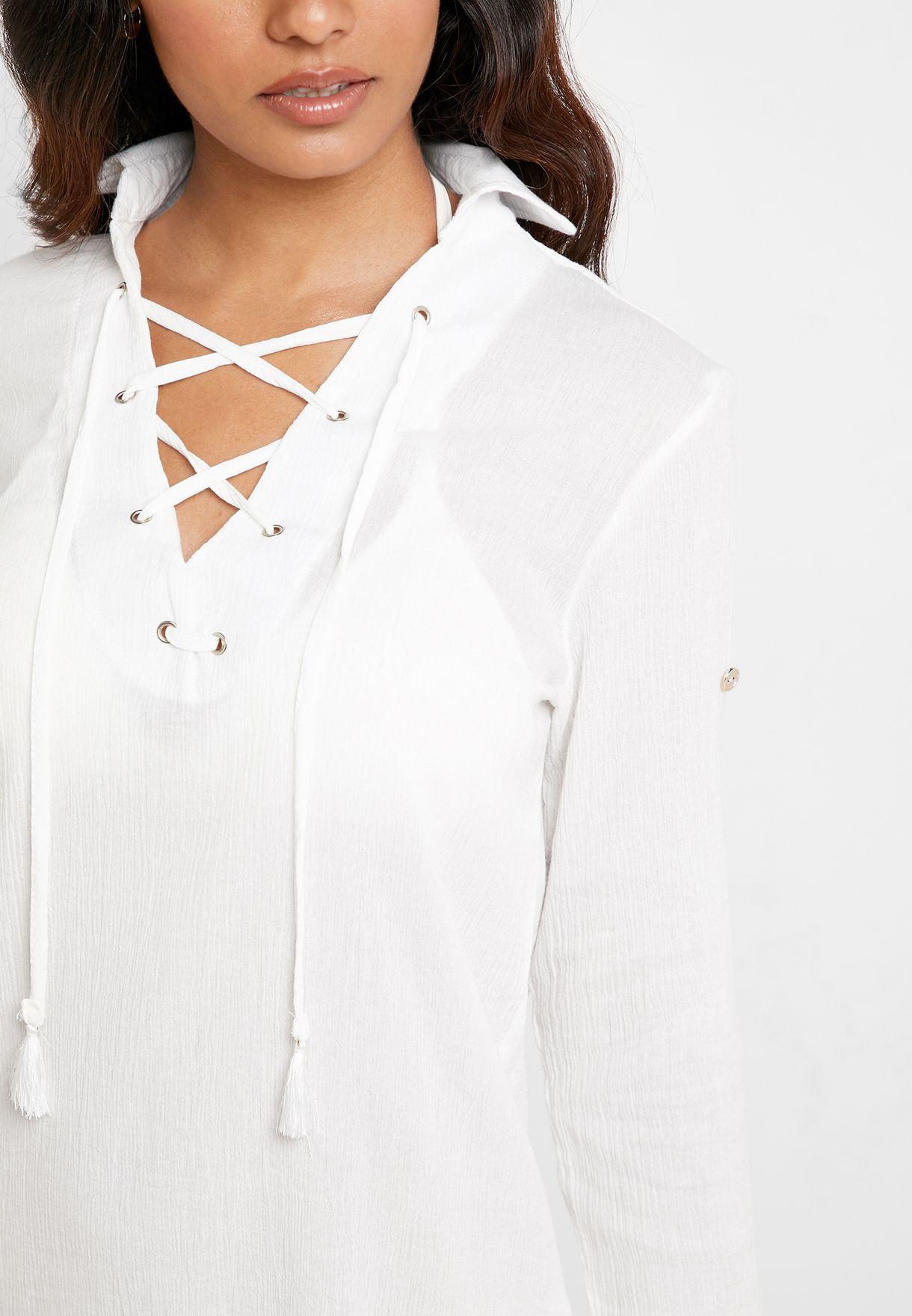 قميص باربطة امامية