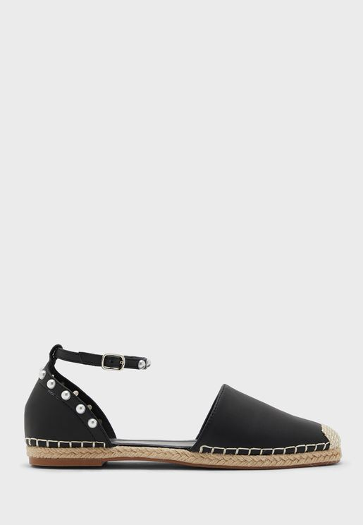 Ankle Strap Espadrille With Pearl Detail