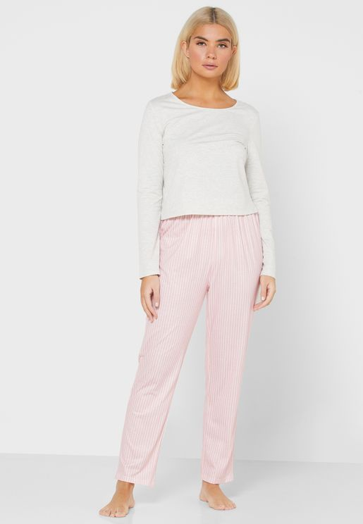Stripped Bottom Pyjama Set