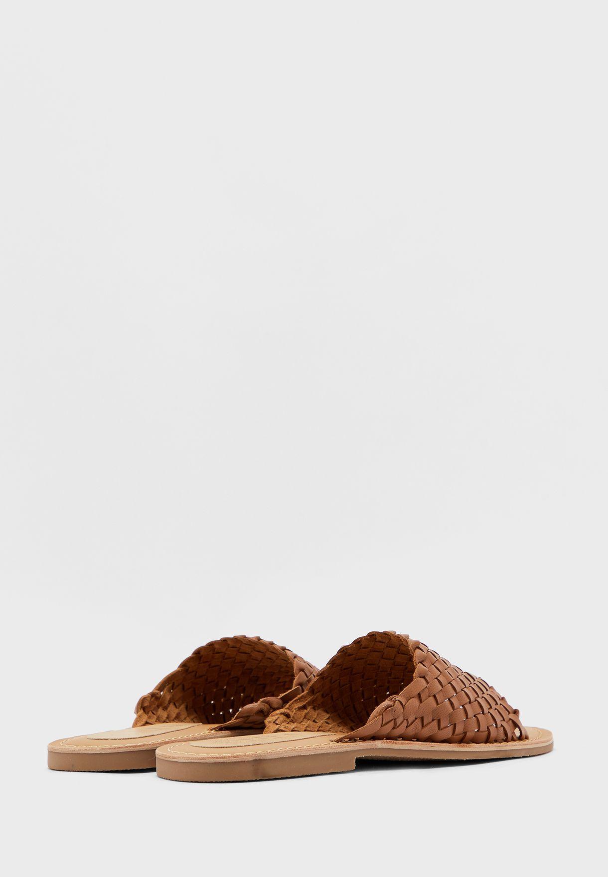 Leather Woven Flat Sandal