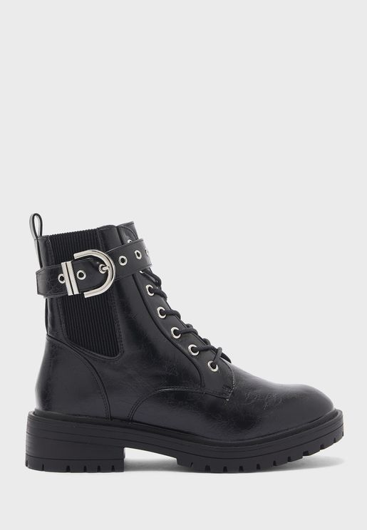 Wide Fit  Buckle Lace Up Ankle Boots