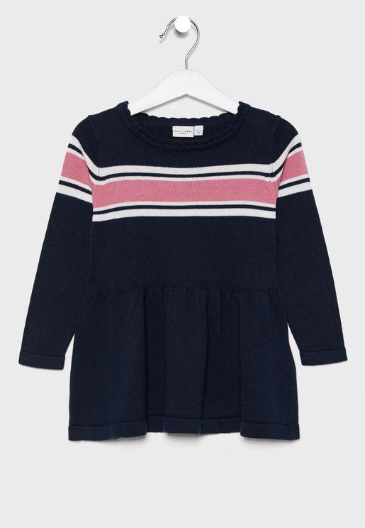 Kids Striped Peplum Dress