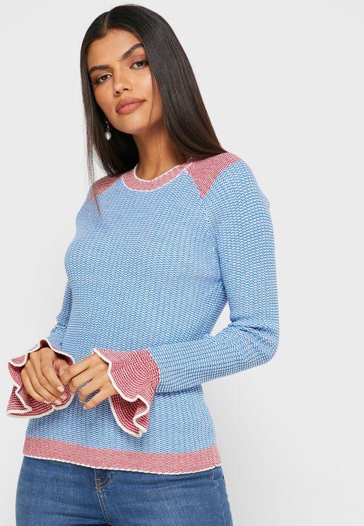 Two Tone Rib Sweater