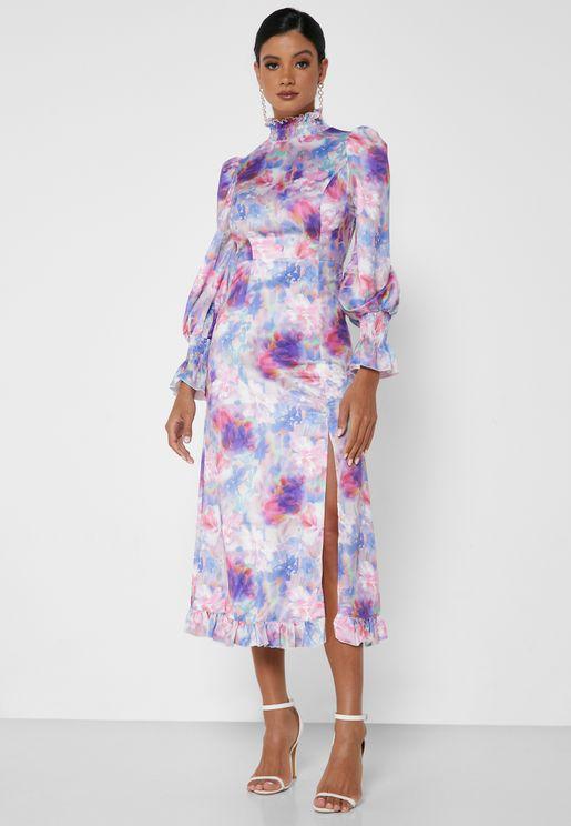 Floral Print Side Slit Dress