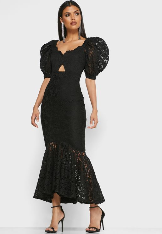Front Cut Out Puff Sleeve Lace Dress