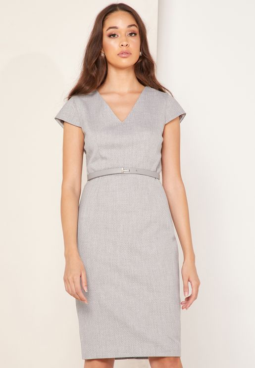Michahd Textured Peplum Tailored Dress