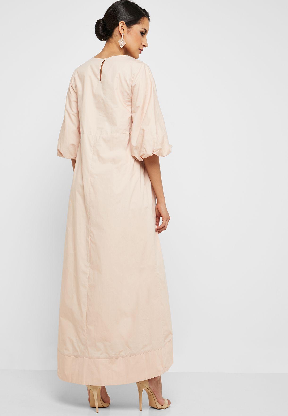 Pleated Waist Embroidered Dress
