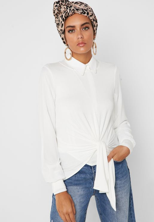 Front Knot Long Sleeve Top
