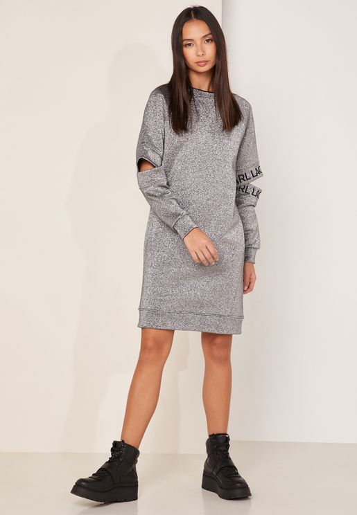 Cut Out Sleeve Sweat Dress
