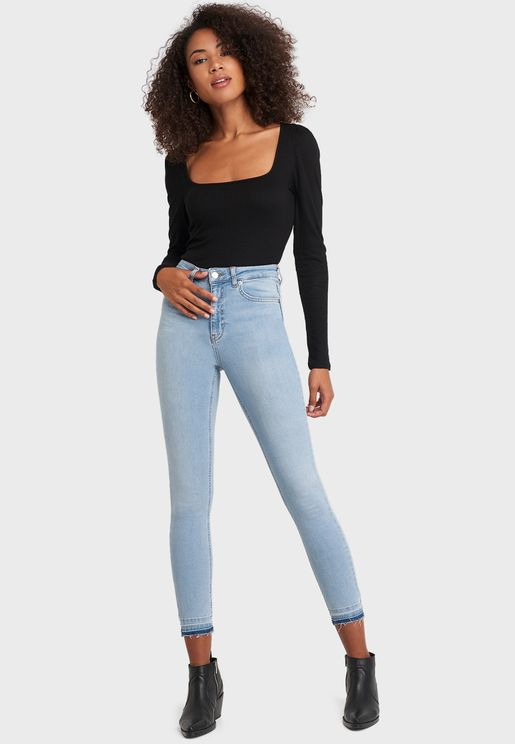 High Waist Raw Hem Skinny Jeans