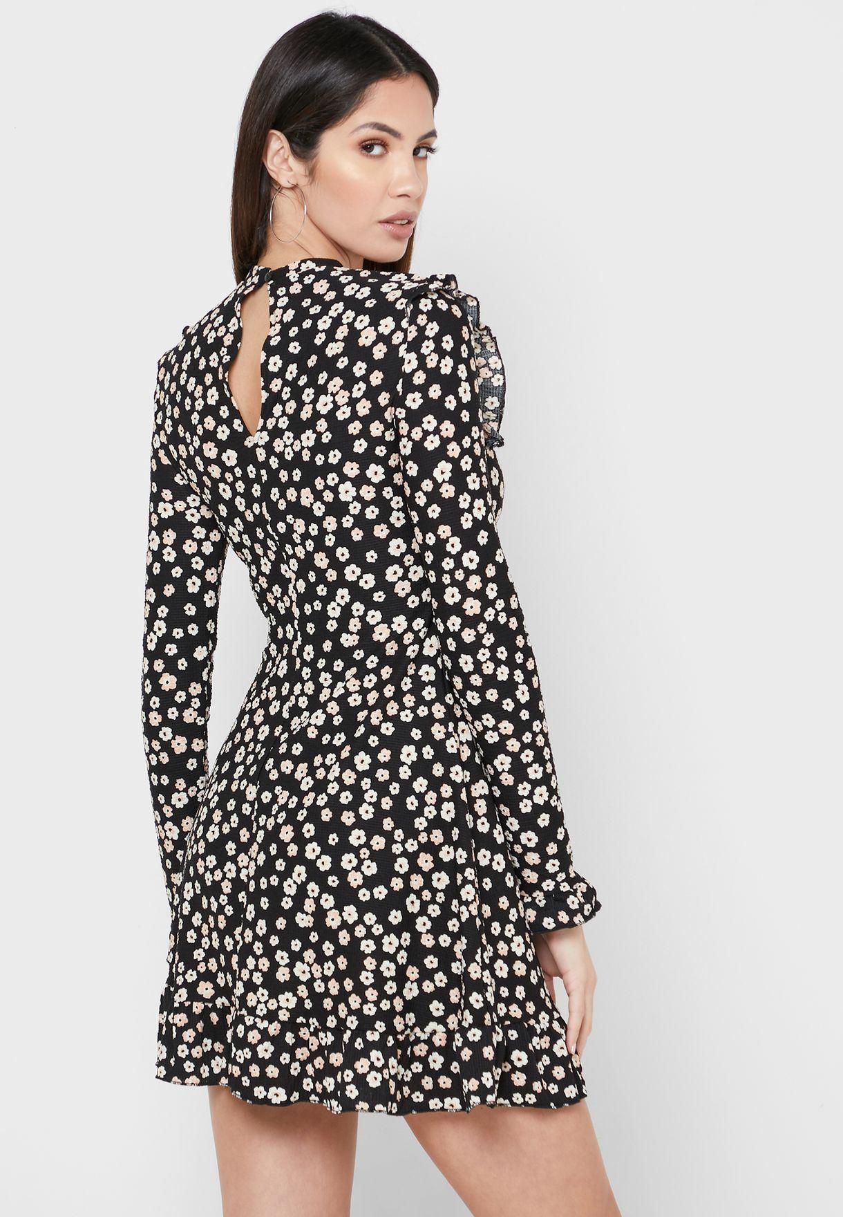 Ruffle Detail Floral Print Dress