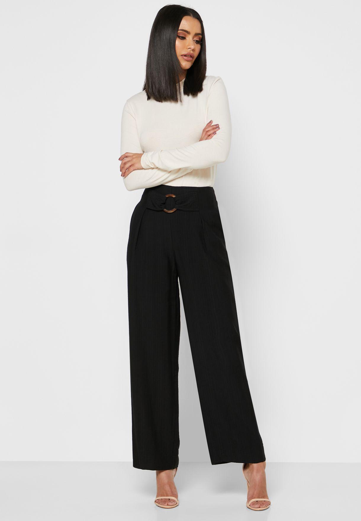 Buckle Waist Detailed Pants