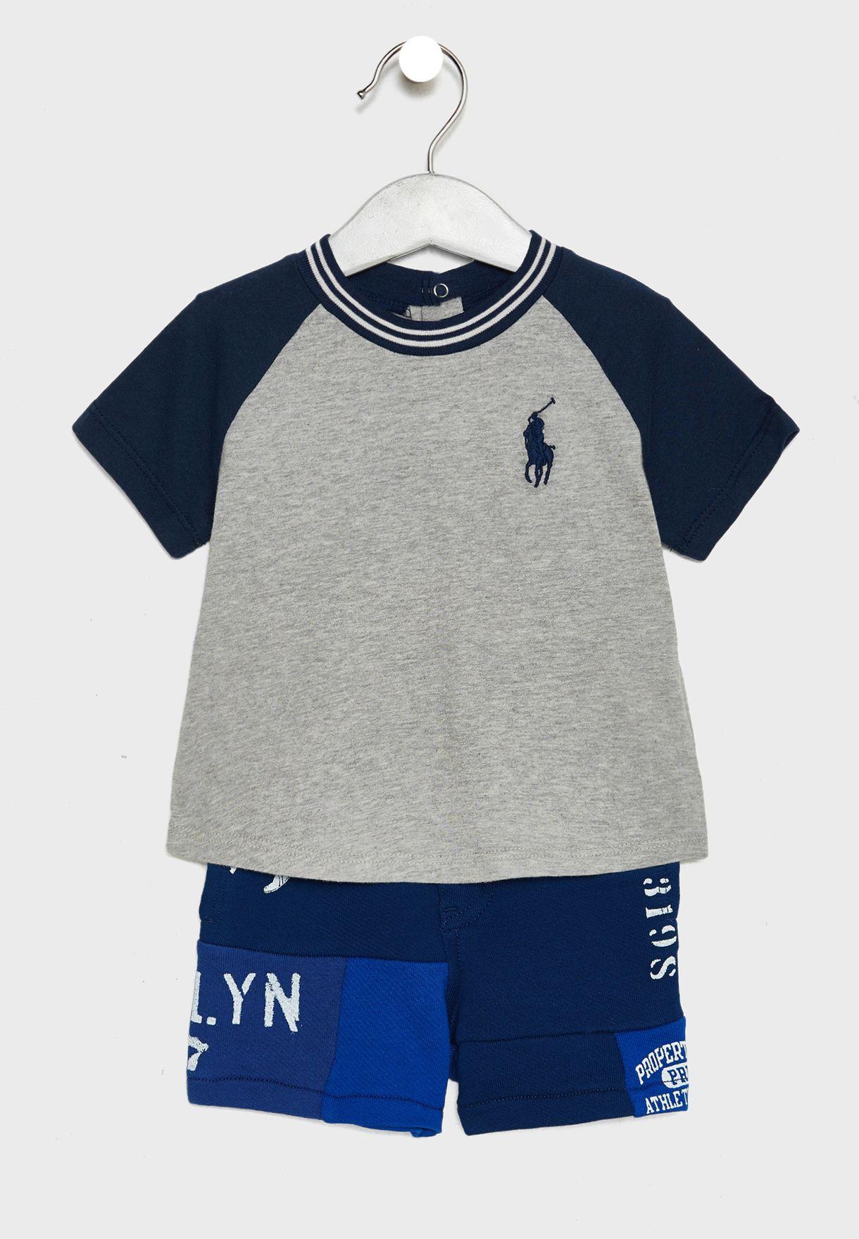 86ee44ab4 Shop Polo Ralph Lauren multicolor Infant Logo T-Shirt + Shorts Set ...