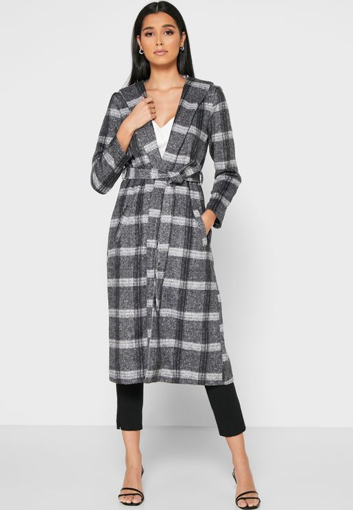 Checked Longline Jacket