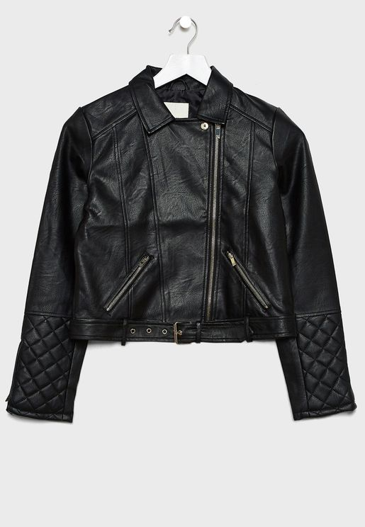 Kids Belted Biker Jacket