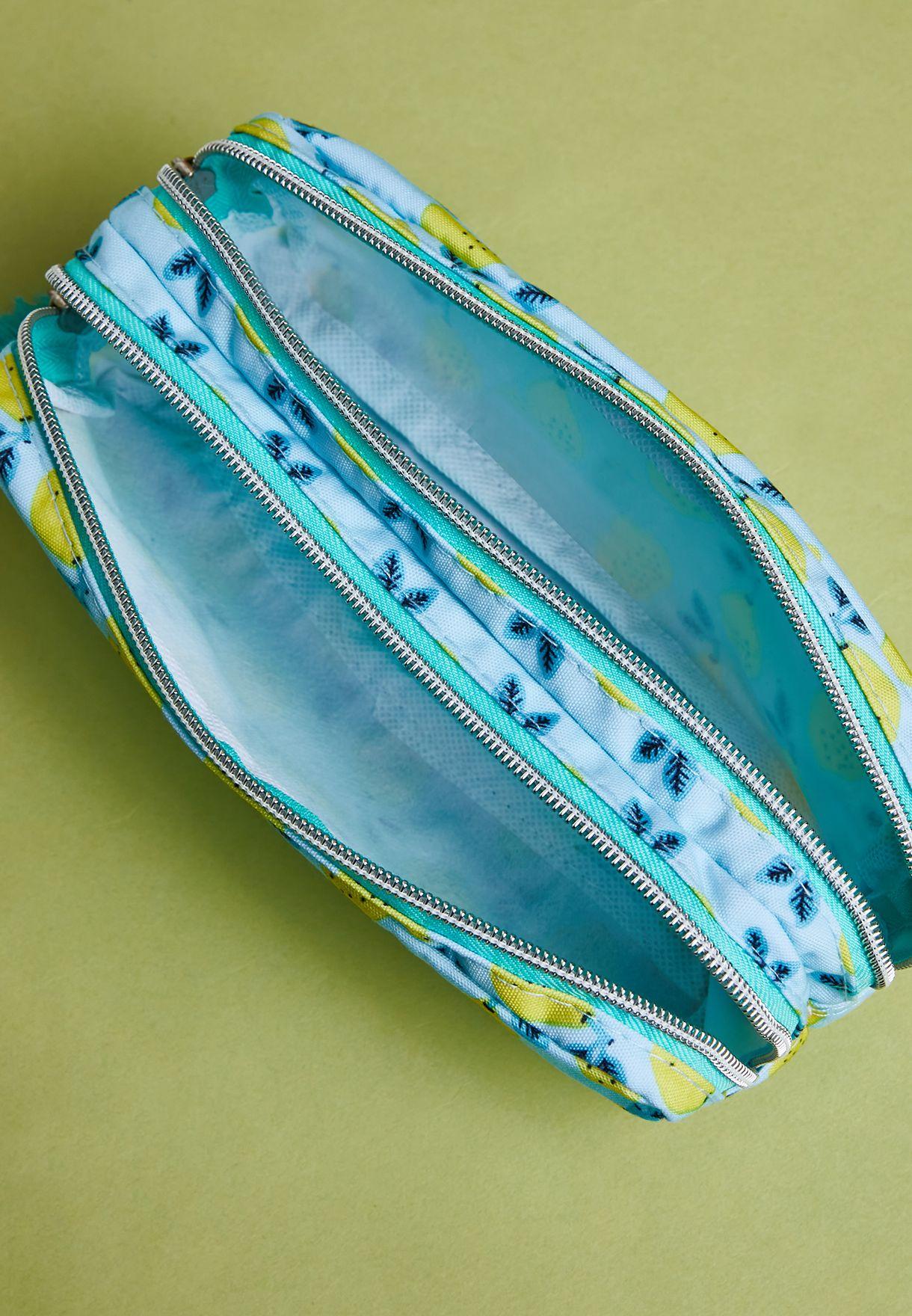 Double Zip Lemon Print Pencil Case