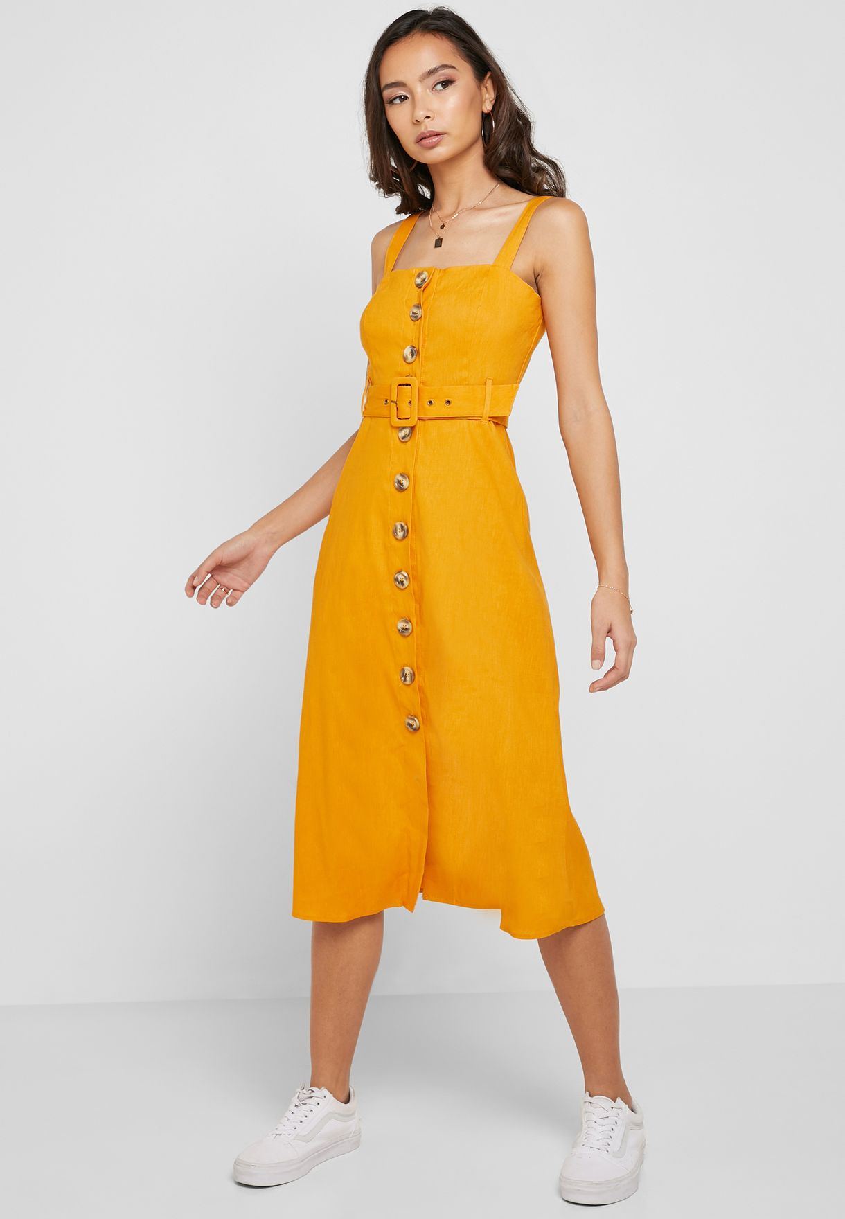 4ed43daeaba Shop Forever 21 yellow Button Down Square Neck Belted Dress 336582 ...