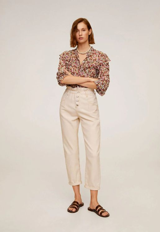 Button Detail Paperbag Waist Jeans
