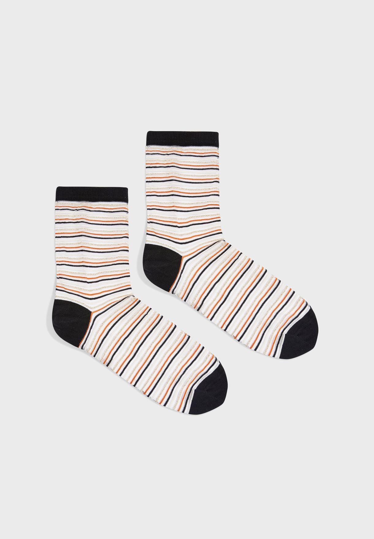 Sheer Striped Socks