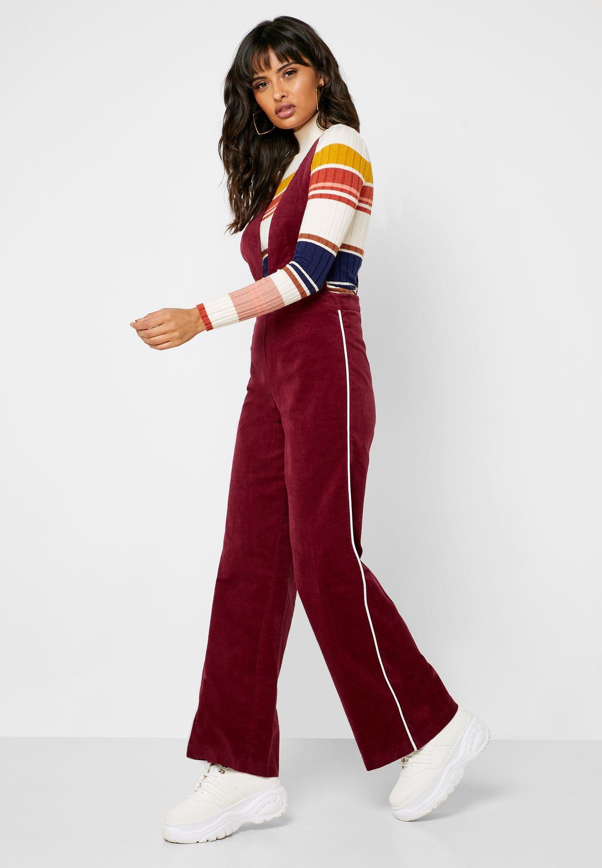 Buy Forever 21 Burgundy Plunge Velour Jumpsuit For Women In Mena Worldwide Globally 20008at22vpp