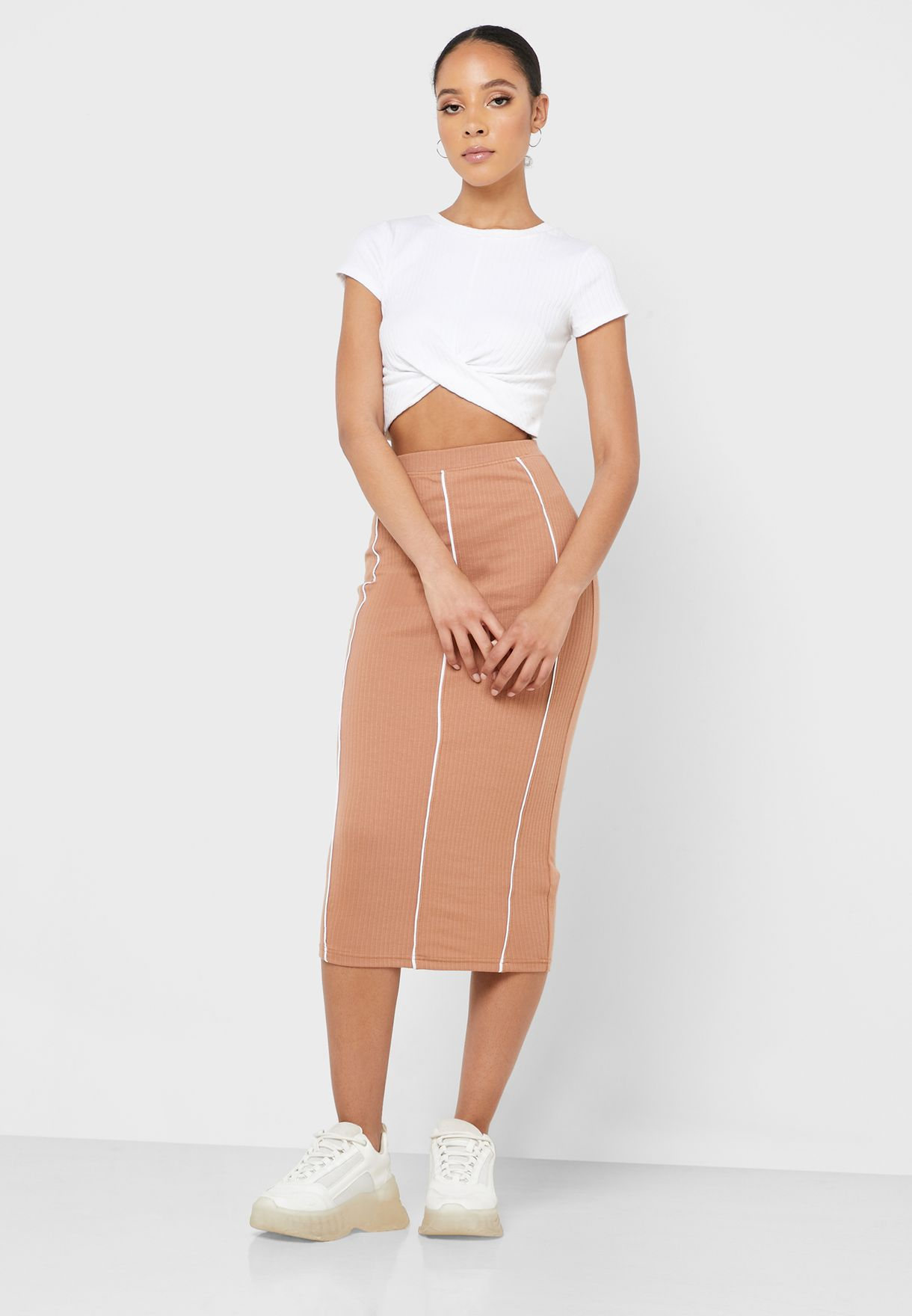 Ribbed Midi Skirt Co Ord