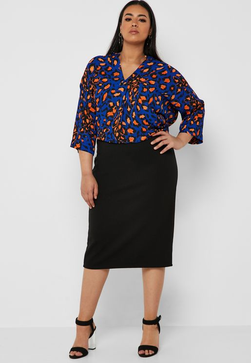 Black Ribbed Tube Midi Skirt