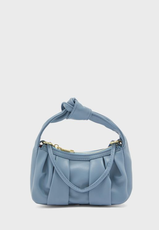 Knot Handle Ruched Cross body Bag