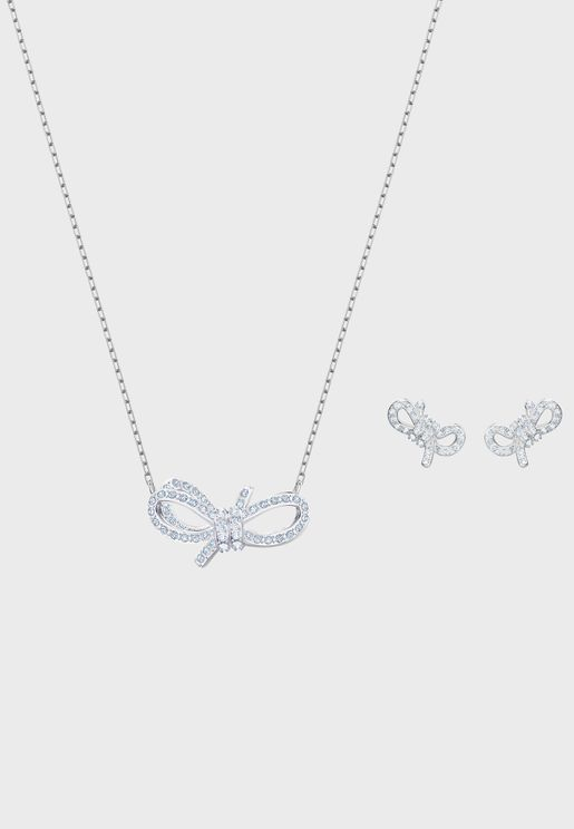 Lifelong Bow Necklace+Earrings Set