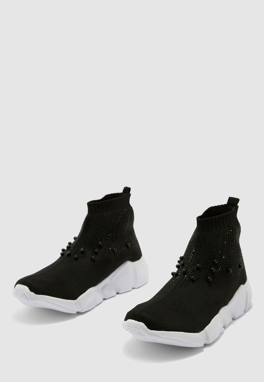 Beaded High Top Sneaker - Black