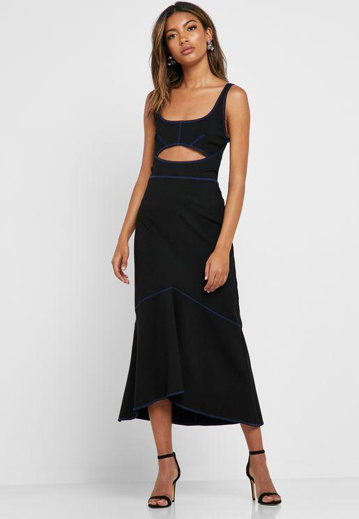 3d9b82e4968 Cut Out Contrast Trim Dress