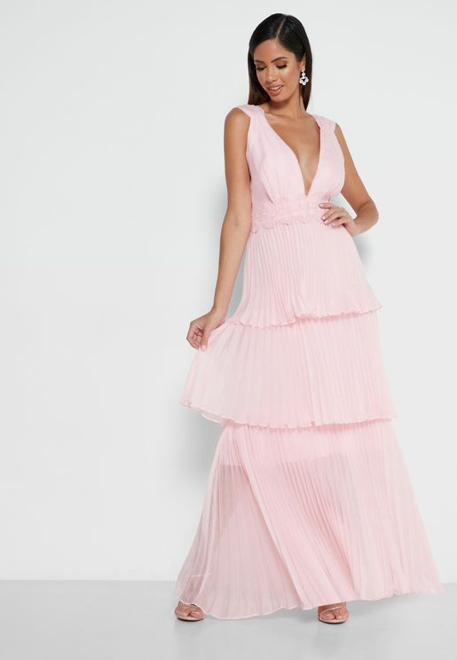 Plunge Ruched Ruffle Hem Dress