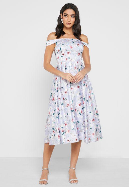 Bardot Pleated Printed Dress