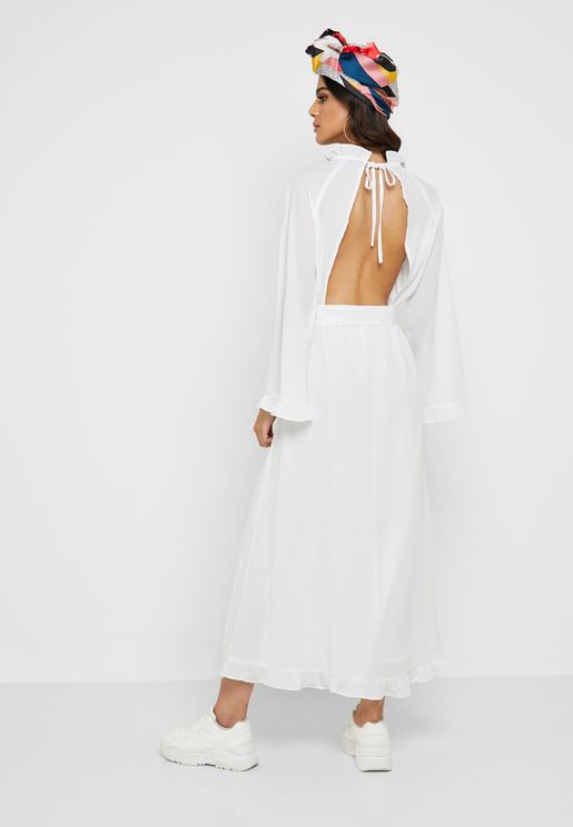 Open Back Self Tie Maxi Dress