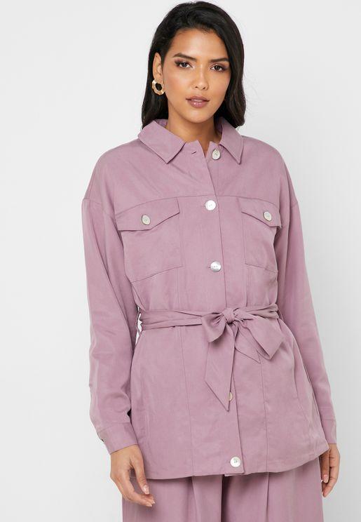 Tencel Belted Longline Shirt