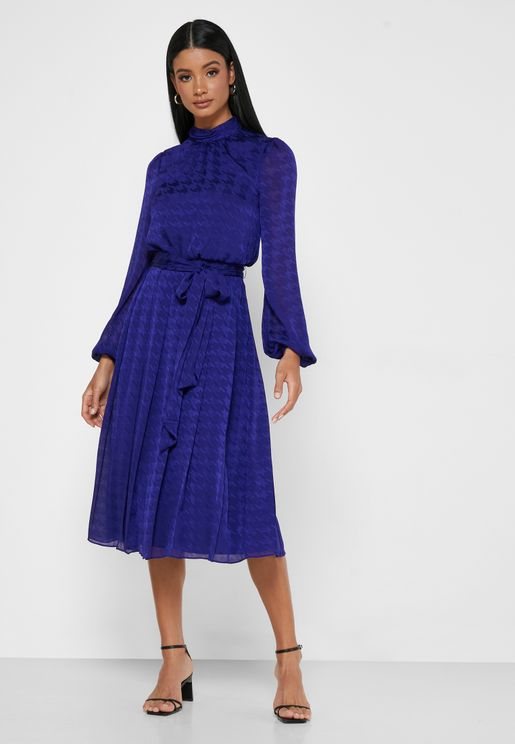 Wilmer Mock Neck Belted Dress
