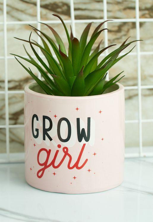 وعاء نباتات بطباعة كتابة