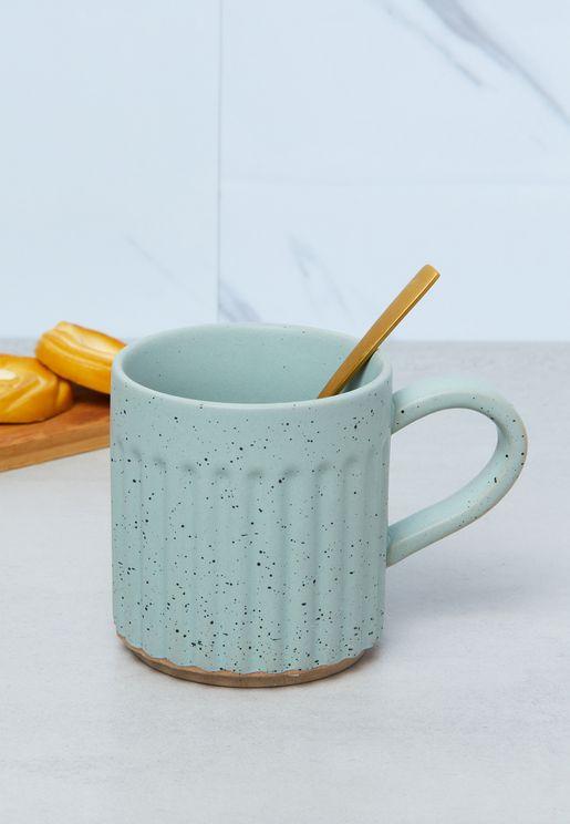 Large Lush Green Speckle Etched Mug