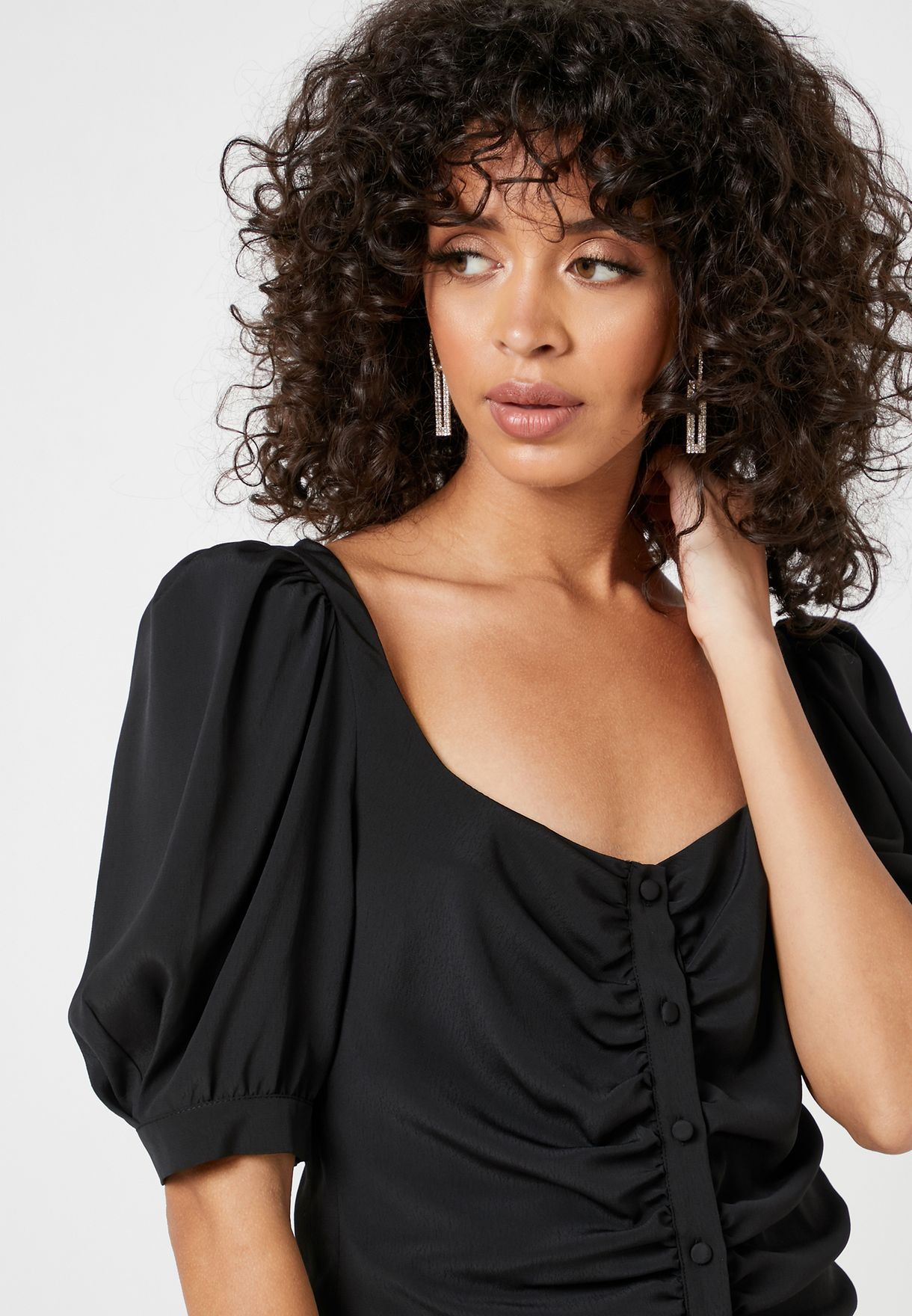 Button Down Pleated Top