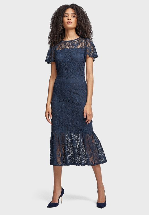 Pleated Lace Detail Dress