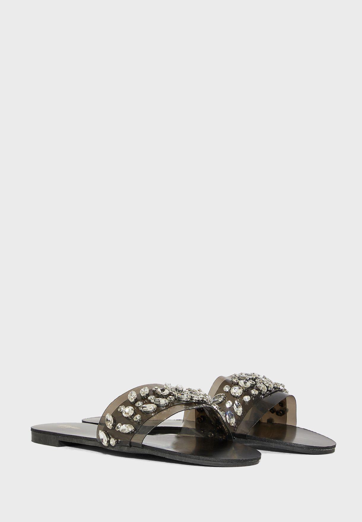 Jewelled Persplex Strap Flat Sandal