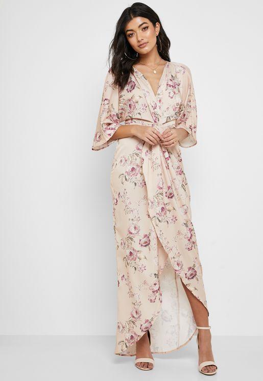 Floral Print Front Twist Maxi Dress