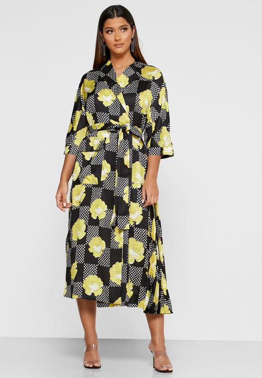 Abito Floral Print Wrap Dress
