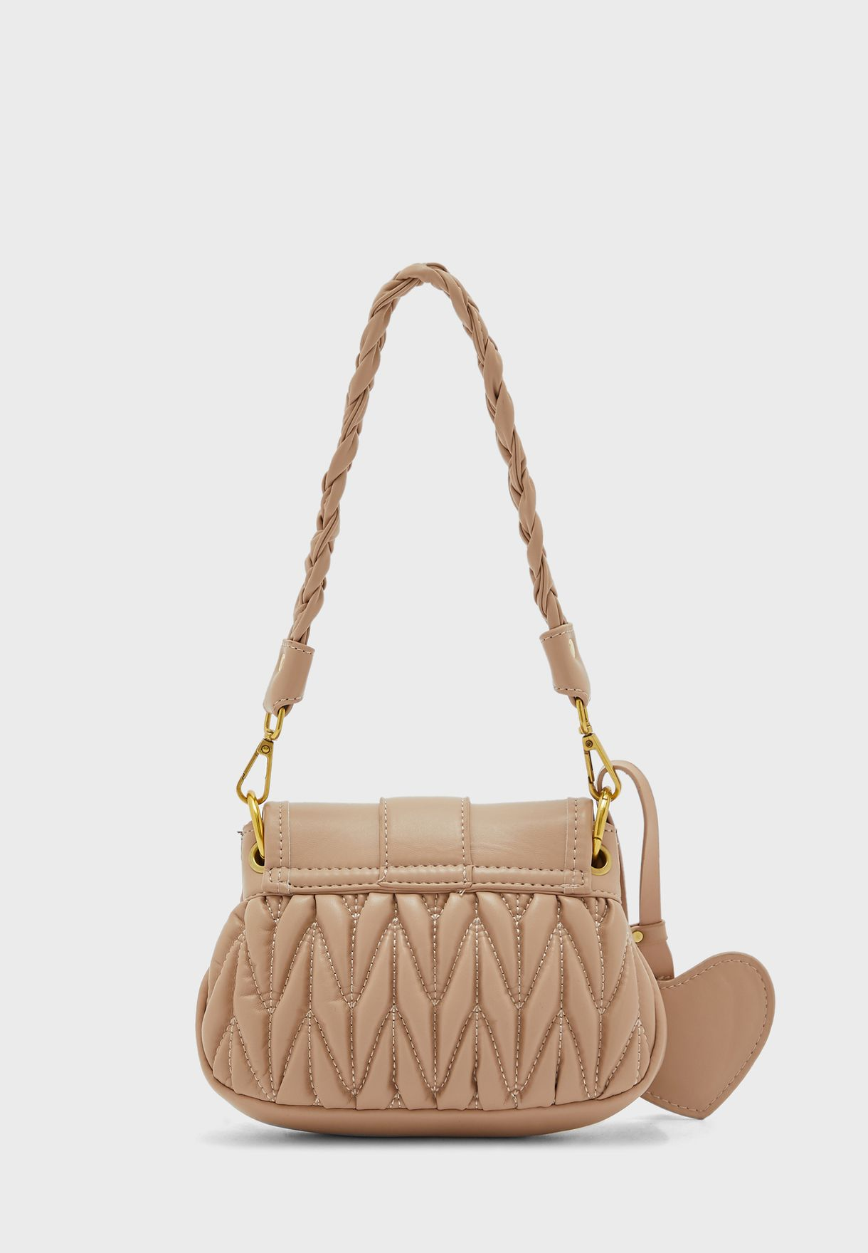 Quilted Handbag with Plaited Strap