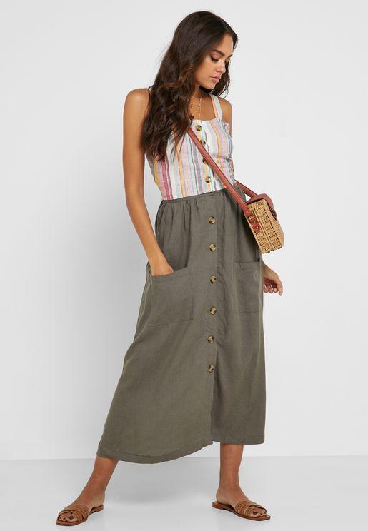 Pocket Detail Button Through Skirt