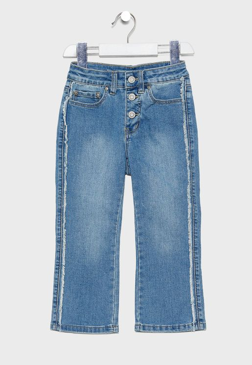 Kids Stonewashed Distressed Flared Jeans
