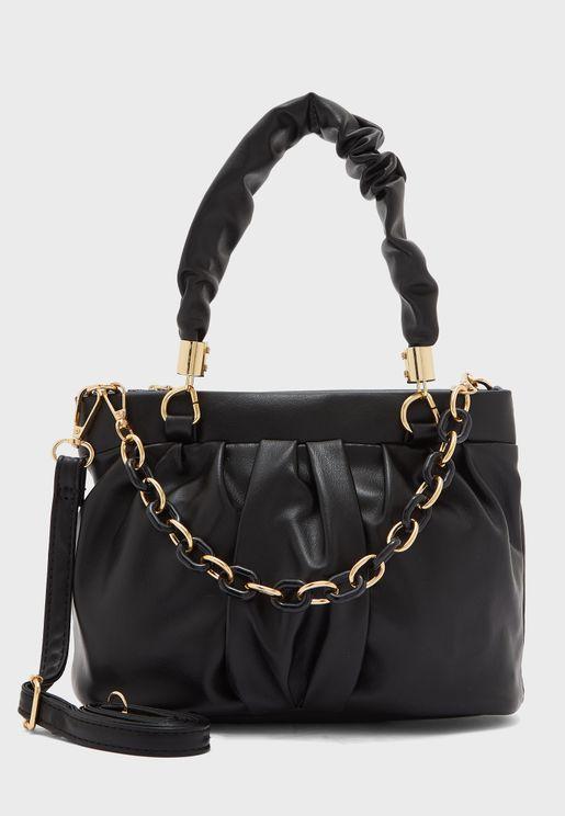 Ruched And Chain Handles Mini Tote Handbag