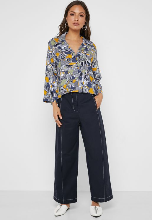 Wide Leg Stitch Detail Crop Pants