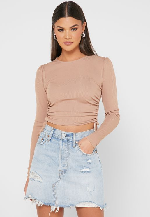 Ribbed Ruched Crop Top