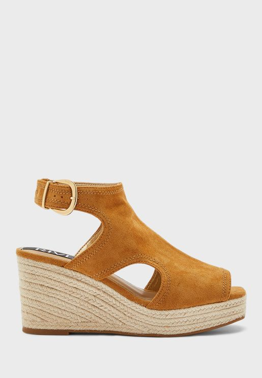 Square Toe Cut Out Wedge Sandal